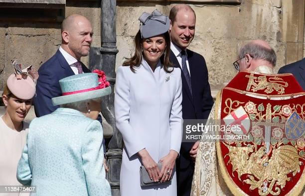 Zara and Mike Tindall Britain's Catherine Duchess of Cambridge and Britain's Prince William Duke of Cambridge stand by as Britain's Queen Elizabeth...