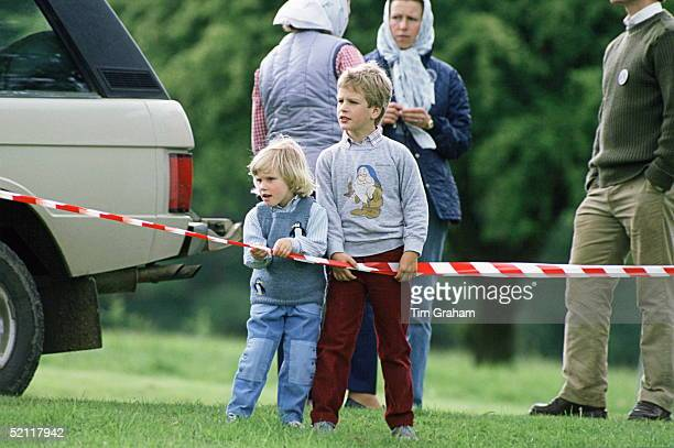 Zara And Peter Phillips Standing Together At The Windsor Horse Show Behind Them Is Their Mother Princess Anne