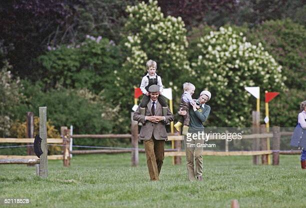 Zara And Peter Phillips With Their Mother, Princess Anne, At The Royal Windsor Horse Show. Peter Is On Shoulders Of Bodyguard David Robinson