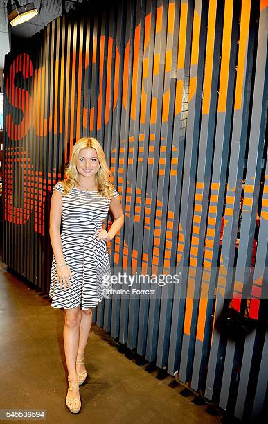 Zara Holland from 'ITV show Love Island' wears Superdry while attending the exclusive Superdry launch at Arndale Centre #SDArndale on July 8 2016 in...