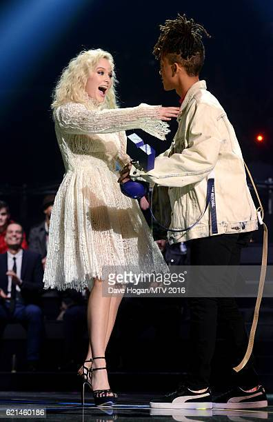 Zara Larsson accepts the Best New award from Jaden Smith on stage at the MTV Europe Music Awards 2016 on November 6 2016 in Rotterdam Netherlands