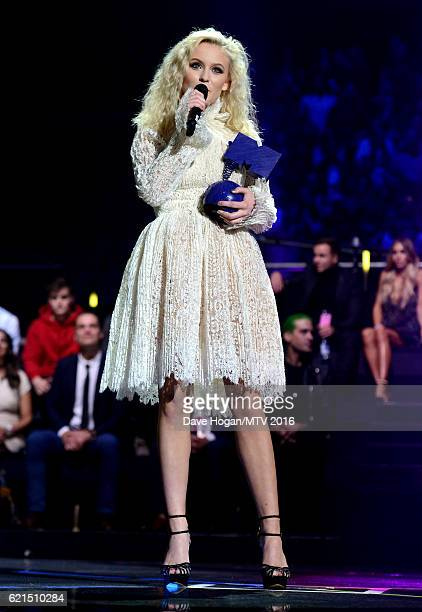 Zara Larsson accepts the Best New award on stage at the MTV Europe Music Awards 2016 on November 6, 2016 in Rotterdam, Netherlands.