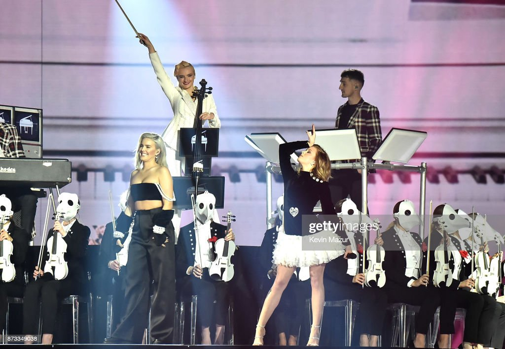 Zara Larsson and Anne Marie perform on stage during the MTV EMAs 2017 held at The SSE Arena, Wembley on November 12, 2017 in London, England.