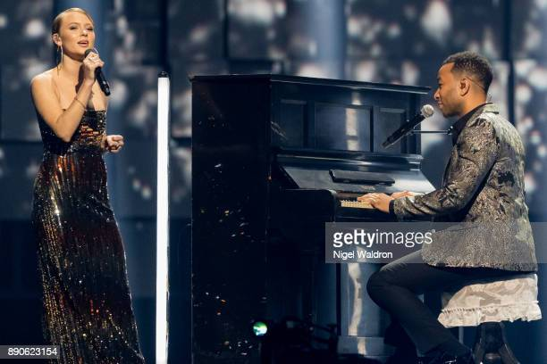 Zara Larsson and John Legend perform live on stage during the Nobel Peace Prize Concert 2017 at the Telenor Arena The Nobel Peace Prize Concert is...