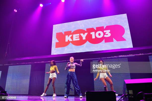 Zara Larsson performs on stage during Key 103 Live held at the Manchester Arena on November 9 2017 in Manchester England