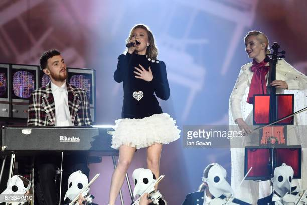 Zara Larsson performs on stage with Clean Bandit during the MTV EMAs 2017 held at The SSE Arena Wembley on November 12 2017 in London England