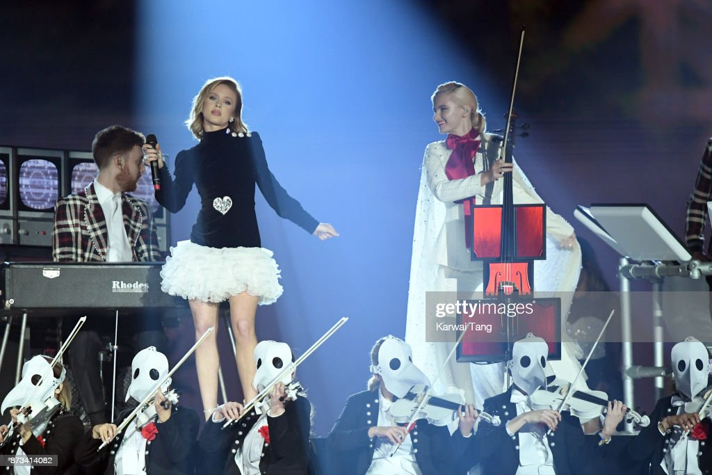 Zara Larsson (L) performs on stage with Grace Chatto (R) of Clean Bandit during the MTV EMAs 2017 held at The SSE Arena, Wembley on November 12, 2017 in London, England.