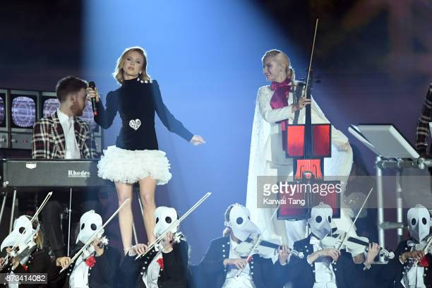 Zara Larsson performs on stage with Grace Chatto of Clean Bandit during the MTV EMAs 2017 held at The SSE Arena Wembley on November 12 2017 in London...