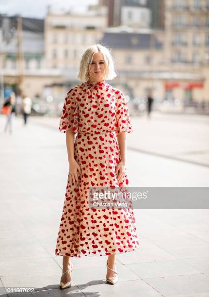 Zara Larsson wearing dress with heart print is seen outside Giambattista Valli during Paris Fashion Week Womenswear Spring/Summer 2019 on October 1...