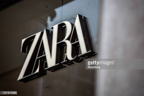 Zara logo outside a Zara clothing store, operated by Inditex SA, in Barcelona, Spain, on Monday, March 8, 2021. Inditex will report its annual...