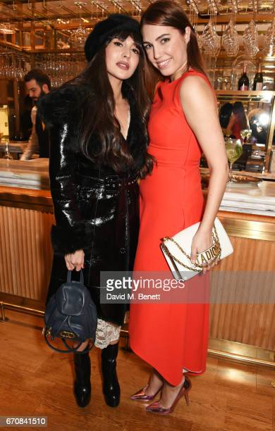 Zara Martin and Amber Le Bon attend the launch of the Dior Pump 'N' Volume Mascara with Dior spokesmodel Bella Hadid at Selfridges on April 20 2017...