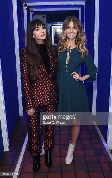 Zara Martin and Jade 'Whinnie' Williams from DJ duo Oh La La take to the decks at the launch of The House of Peroni on October 28 2015 in London...
