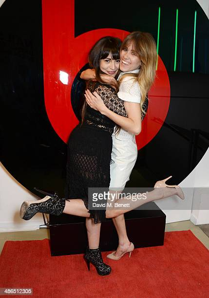 Zara Martin and Jade Williams aka Sunday Girl attend the Beats by Dr Dre Drenched in Colour nail event on April 24 2014 in London England