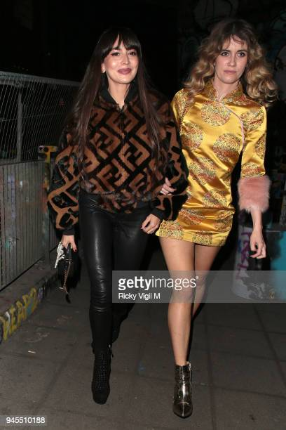 Zara Martin and Whinnie Williams seen attending Fendi Reloaded launch party at Lost Rivers on April 12 2018 in London England