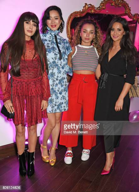 Zara Martin Betty Bachz Ella Eyre and Roxie Nafousi attend the #YSLBeautyClub party in collaboration with Sink The Pink at The Curtain on August 3...