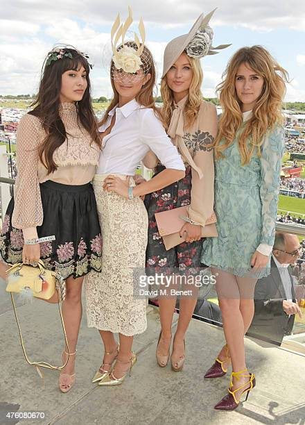 Zara Martin Millie Mackintosh Laura Whitmore and Jade Williams attend Derby Day during the Investec Derby Festival at Epsom Racecourse on June 6 2015...