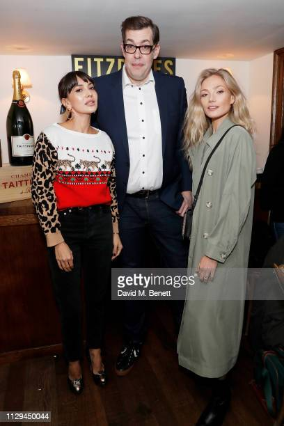 Zara Martin Richard Osman and Clara Paget at Fitzdares' 'The Sports Quiz You Can't Google' on February 13 2019 in London England