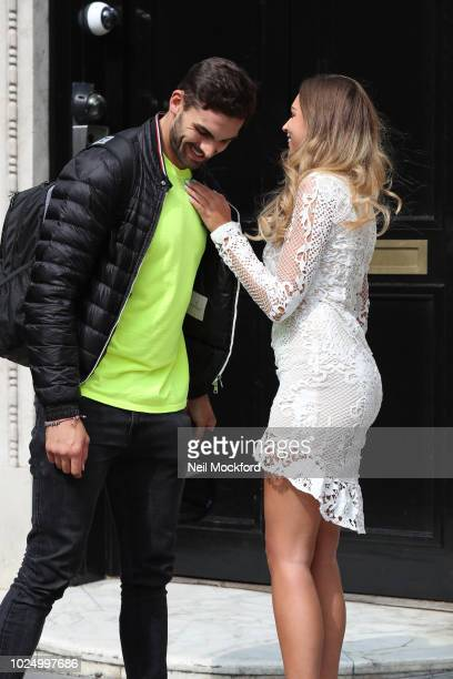 Zara McDermott and Adam Collard from Love Island 2018 seen arriving at Bauer Media Studios for a Heat Radio interview on August 29 2018 in London...