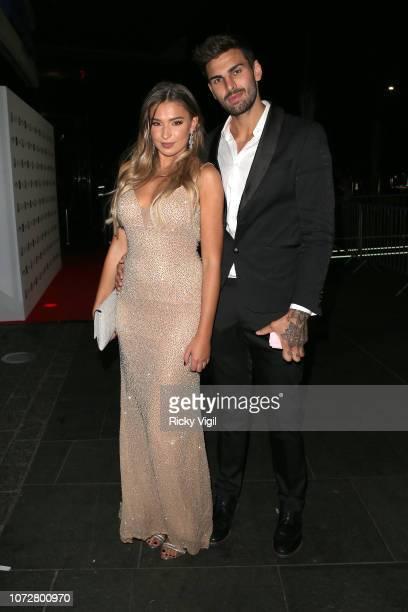 Zara McDermott and Adam Collard seen attending The Beauty Awards with OK at Park Plaza Westminster Bridge on November 26 2018 in London England