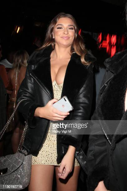 Zara McDermott seen celebrating Ellie Brown's birthday at MNKY HSE on February 16 2019 in London England
