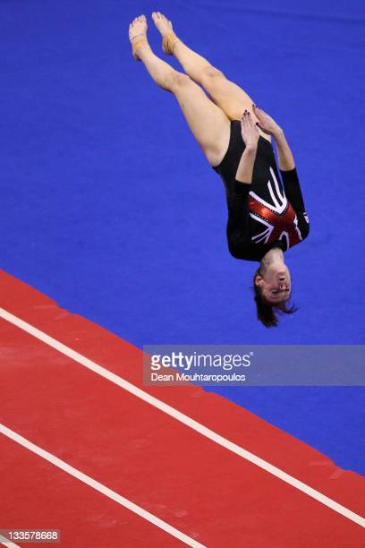 Zara Mclean of Great Britain competes in the Tumbling Womens final during the 28th Trampoline and Tumbling World Championships at National Indoor...