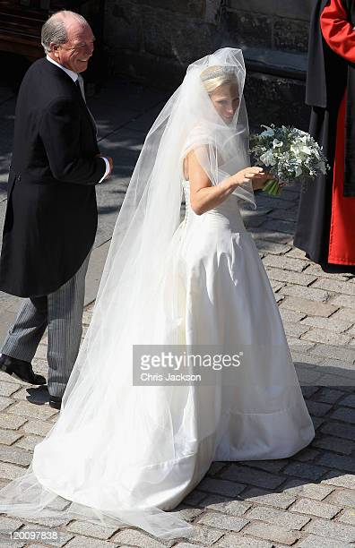 Zara Philips and Captain Mark Philips arrive at Canongate Kirk on the afternoon of her wedding to Mike Tindall on July 30 2011 in Edinburgh Scotland...