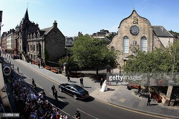 Zara Philips and Captain Mark Philips arrive at Canongate Kirk on the afternoon of her wedding to Mike Tindall on July 30, 2011 in Edinburgh,...