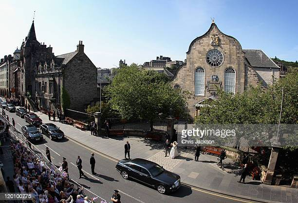 Zara Philips and Mike Tindall leave Canongate Kirk after getting married on July 30, 2011 in Edinburgh, Scotland. The Queen's granddaughter Zara...