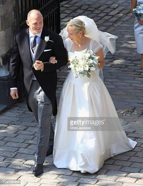 Zara Philips and Mike Tindall leave Canongate Kirk after getting married on July 30 2011 in Edinburgh Scotland The Queen's granddaughter Zara...