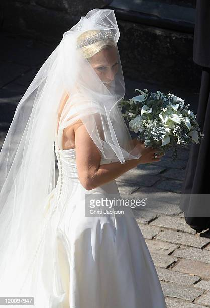Zara Philips arrives at Canongate Kirk on the afternoon of her wedding to Mike Tindall on July 30, 2011 in Edinburgh, Scotland. The Queen's...