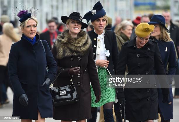 Zara Philips arrives on the third day of the Cheltenham Festival horse racing meeting at Cheltenham Racecourse in Gloucestershire southwest England...