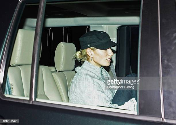 Zara Philips driven by Prince William Duke of Cambridge arrives at Papworth Hospital to visit Prince Philip the Duke of Edinburgh who is recovering...