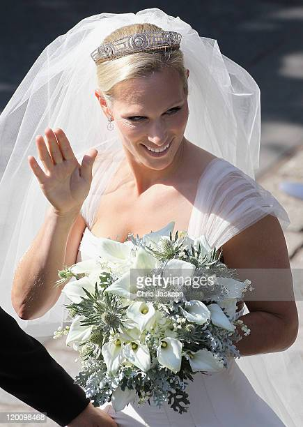 Zara Philips leaves Canongate Kirk on the afternoon of her wedding to Mike Tindall on July 30 2011 in Edinburgh Scotland The Queen's granddaughter...