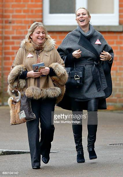 Zara Phillips accompanied by Belinda Keighley attends the Christmas Racing Meet at Ascot Racecourse where her horse 'Somewhere To Be' ran in The...
