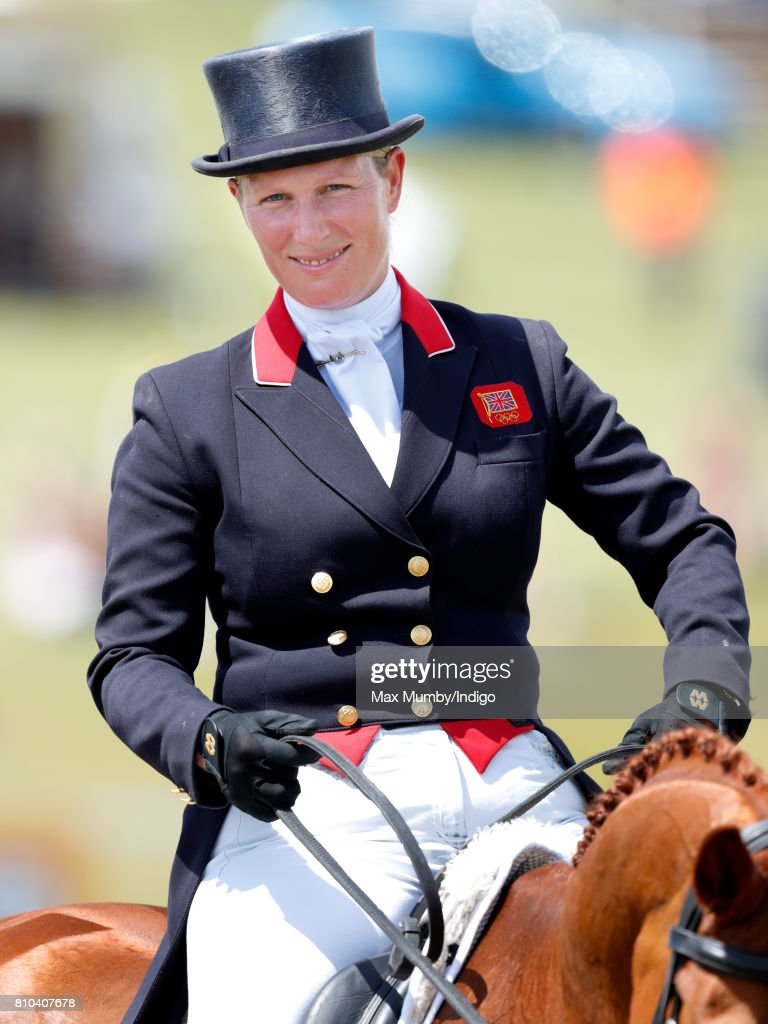 Zara Phillips after competing in the dressage phase of the Barbury International Horse Trials on July 7, 2017 in Marlborough, England.