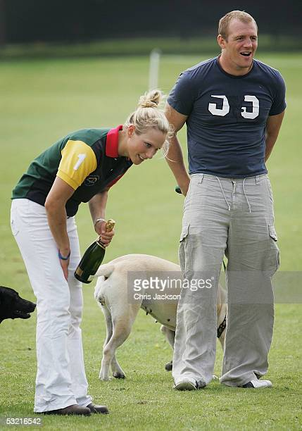 Zara Phillips and boyfriend, rugby player Mike Tindall, are seen at the annual Army v Navy match for the Rundle Cup at Tidworth Polo Club on July 9,...