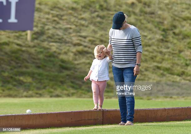 Zara Phillips and daughter Mia attend the Maserati Royal Charity Polo Trophy during the Gloucestershire Festival of Polo at Beaufort Polo Club on...