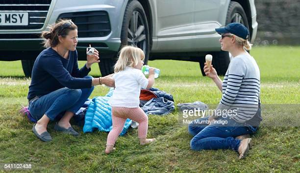 Zara Phillips and daughter Mia Tindall attend the Maserati Royal Charity Polo Trophy Match on June 18 2016 in Tetbury England