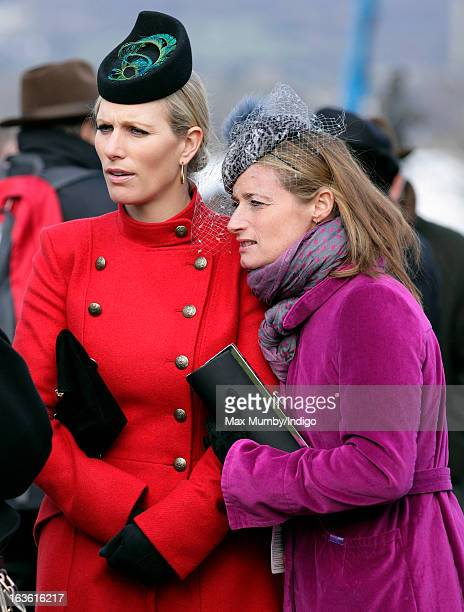 Zara Phillips and Dolly Maude attend Day 2 of The Cheltenham Festival at Cheltenham Racecourse on March 13, 2013 in London, England.