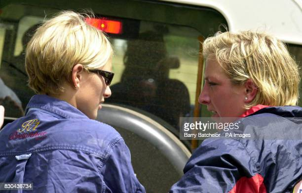 Zara Phillips and Elizabeth Iorio girlfriend of Peter Phillips at the Doubleprint British Horse Trials Championships at Gatcombe Park Gloucestershire