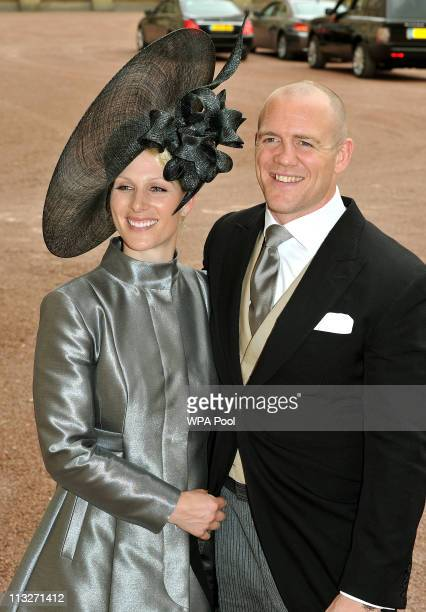 Zara Phillips and fiance Mike Tindall leave the wedding reception for Prince William and Catherine Middleton at Buckingham Palace on April 29 2011 in...