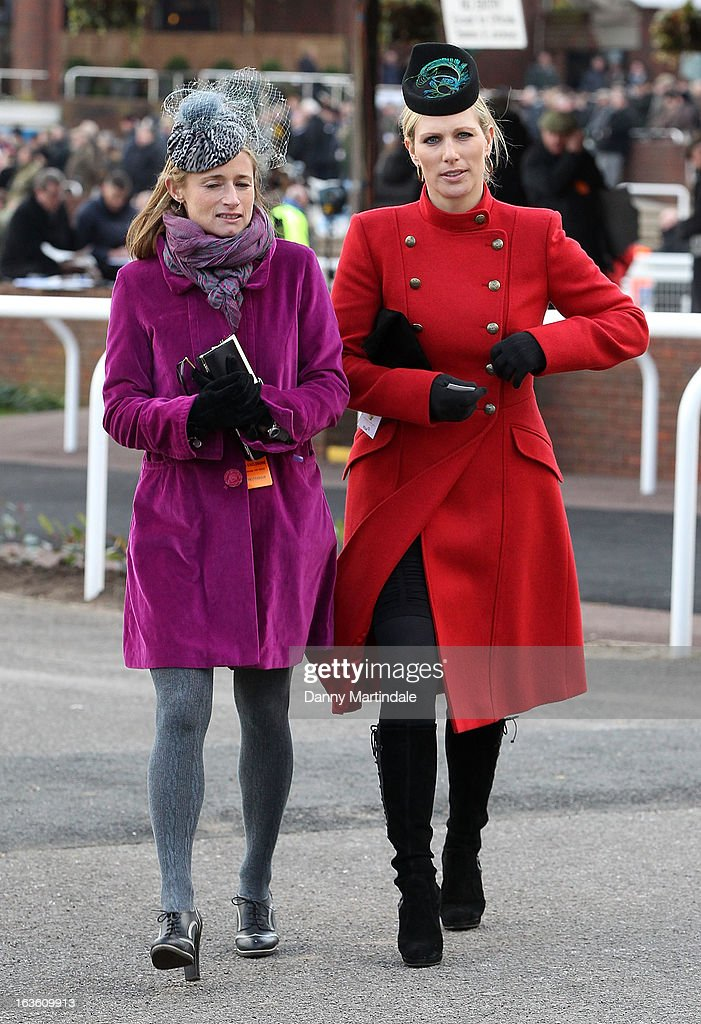 Zara Phillips (R) and friend attend day 2 of the Cheltenham Festival at Cheltenham Racecourse on March 13, 2013 in Cheltenham, England.