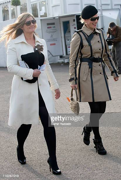 Zara Phillips and friend Dolly Maude attend Day 3 of the Cheltenham Festival at Cheltenham Racecourse on March 17 2011 in Cheltenham England