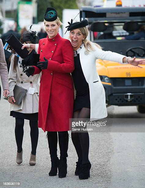 Zara Phillips and friends attend the Cheltenham Festival Day 2 on Ladies Day at Cheltenham racecourse on March 13, 2013 in London, England.