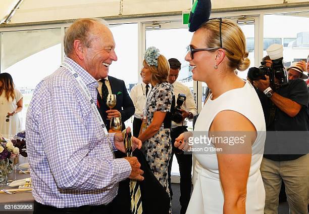 Zara Phillips and Gerry Harvey attend the Magic Millions Raceday on January 14 2017 in Gold Coast Australia