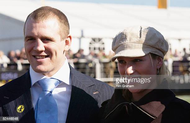 Zara Phillips and her boyfriend England rugby player Mike Tindall attend the fourth day of the Cheltenham Festival at Cheltenham Racecourse on March...