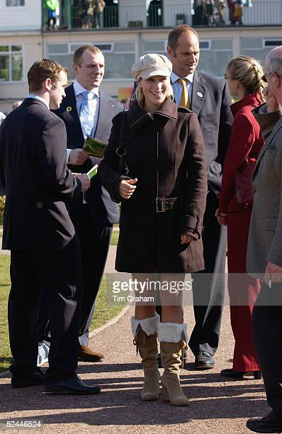 Zara Phillips and her boyfriend Mike Tindall attend the fourth day of the Cheltenham Festival at Cheltenham Racecourse on March 18 2005 in Cheltenham...