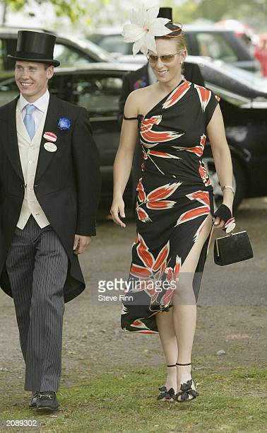 Zara Phillips and her boyfriend Richard Johnson arrives at the Royal Ascot day one on June17 2003 in Ascot Berkshire