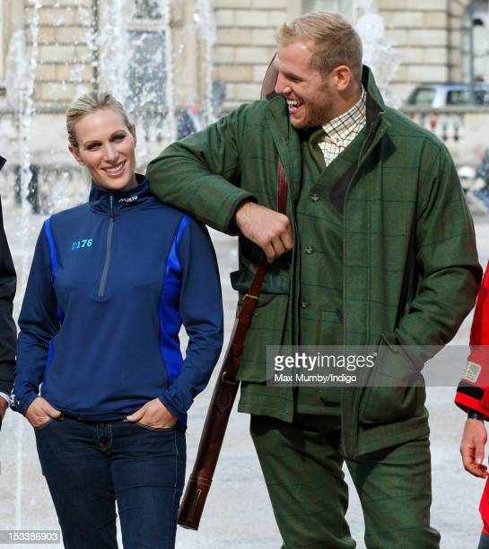 Zara Phillips and James Haskell attend the Musto: By Royal Appointment clothing range press event at Somerset House on October 4, 2012 in London,...