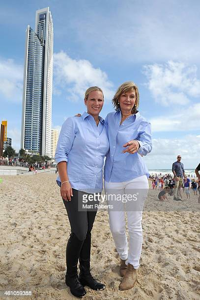 Zara Phillips and Katie Page-Harvey pose for a photograph before the Magic Millions Barrier Draw on January 6, 2015 on the Gold Coast, Australia.